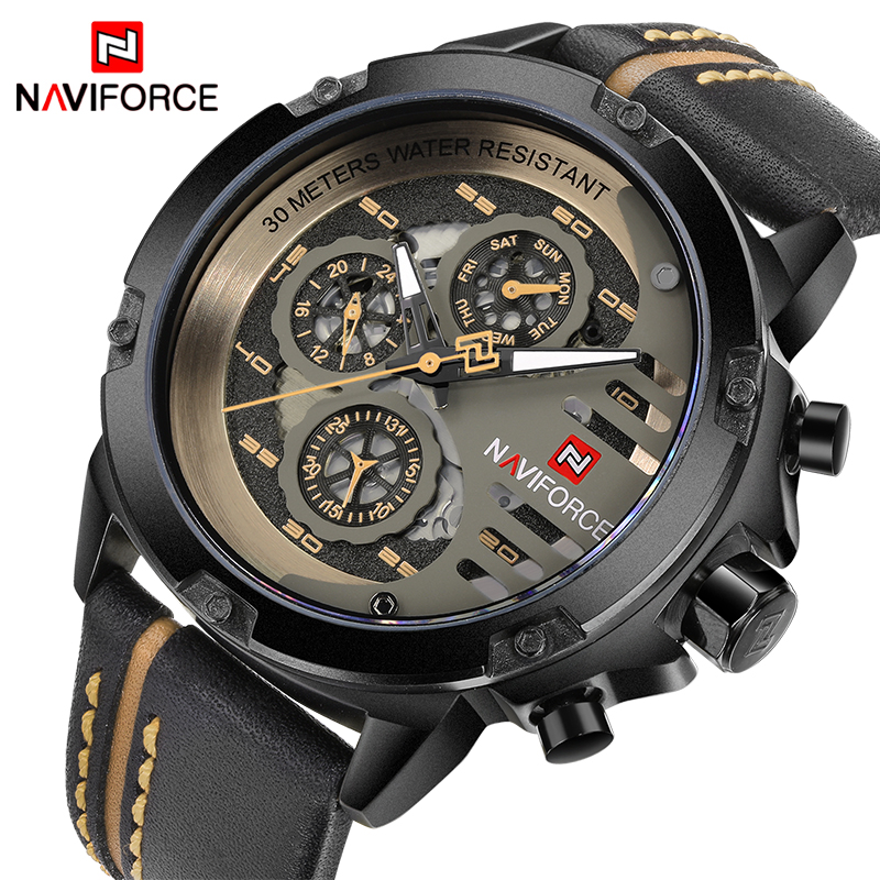 NAVIFORCE Mens Watches Top Brand Luxury Waterproof 24 hour Sport Quartz Watch Men Leather Military Wristwatch relogio masculino
