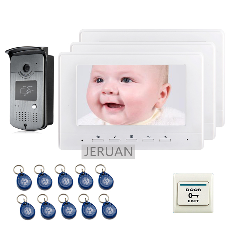 FREE SHIPPING 7 Screen Video Intercom Door Phone System + 3 White Monitor + 700TVL RFID Card Reader Doorbell Camera free shipping brand rfid accdss card reader door intercom camera for video intercom door phone in stock wholesale