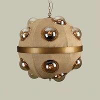 Новый Винтажный подвесной светильник Ностальгический льняной шпагат светильник из ткани простой скандинавский Ретро подвесной светильни