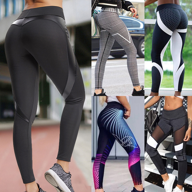 CROSS1946 Women Patchwork Elastic Yoga Pants Fitness Compression Trousers Running