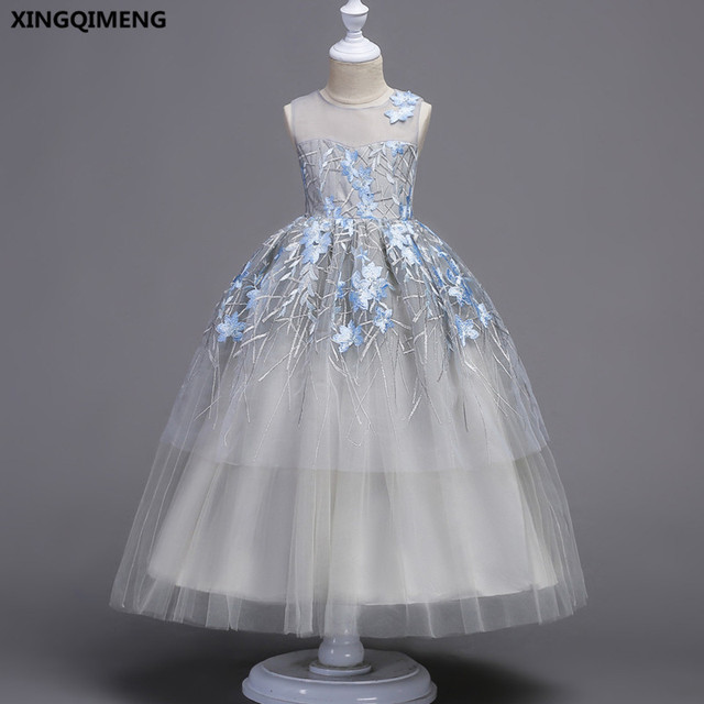In Stock Gray Tulle Flower Dresses Ball Gown Embroidery First Holy Communion For S