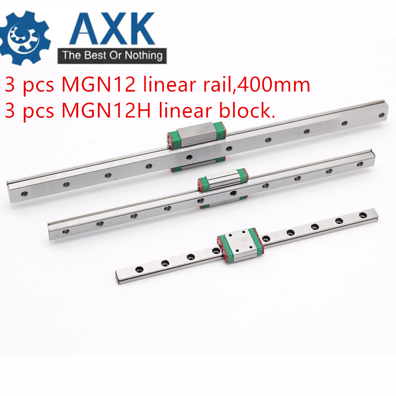3 pcs Kossel Mini for 12mm Linear Guide MGN12 400mm linear rail + MGN12H Long linear carriage for CNC X Y Z Axis 3d printer part3 pcs Kossel Mini for 12mm Linear Guide MGN12 400mm linear rail + MGN12H Long linear carriage for CNC X Y Z Axis 3d printer part