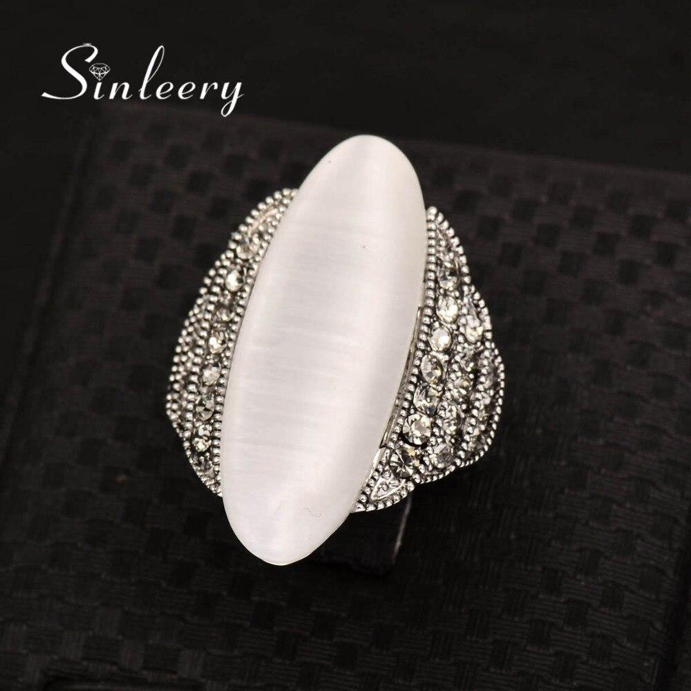 SINLEERY Vintage Big Opal Stone Shuttle Fingerringar för kvinnor - Märkessmycken - Foto 4
