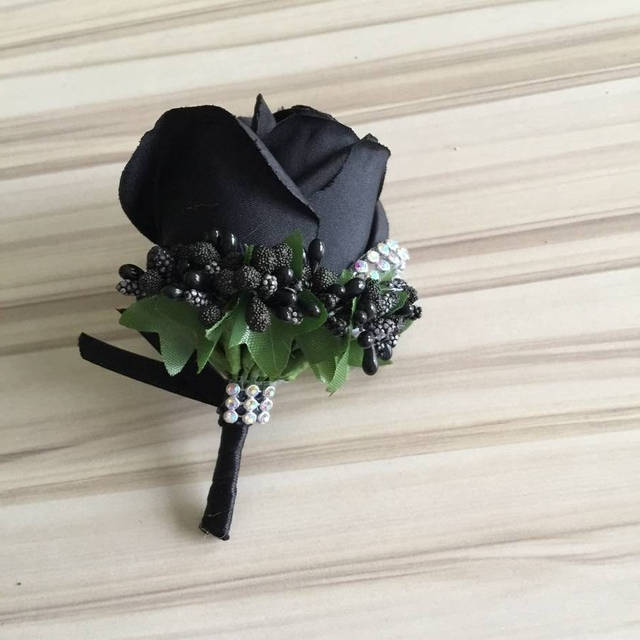 Pure black color wedding boutonniere for groom best man buttonhole pure black color wedding boutonniere for groom best man buttonhole pin christmas party decoration junglespirit