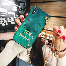 blue ray chain strap tpu case for iphone 7 8 6s 6 plus XS MAX XR X cover fashion cute cartoon shoulder lanyard soft phone