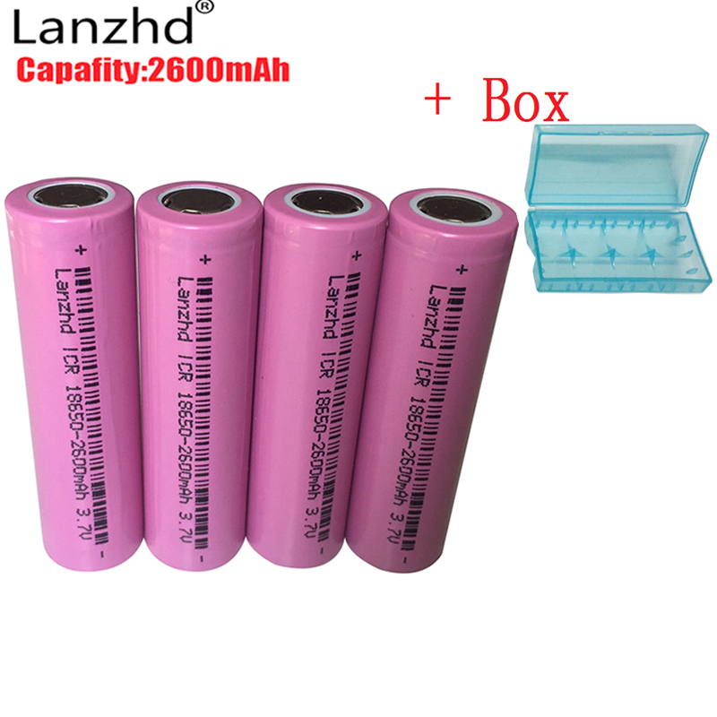 4PCS batteries 3.7v ICR 18650 Rechargeable battery 18650 Li-ion 2600mAh original battery for flashlight Headlamp lithium Button