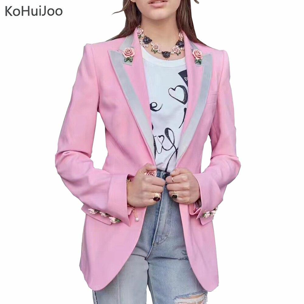 KoHuiJoo High Quality Designer Blazer for Women Long Sleeve Floral Lining Rose Buttons Fashion 2018 Slim Suit Jacket Blazer