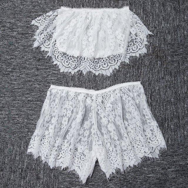 Sexy Lace Tube Crop Top Underwear Lingerie Set