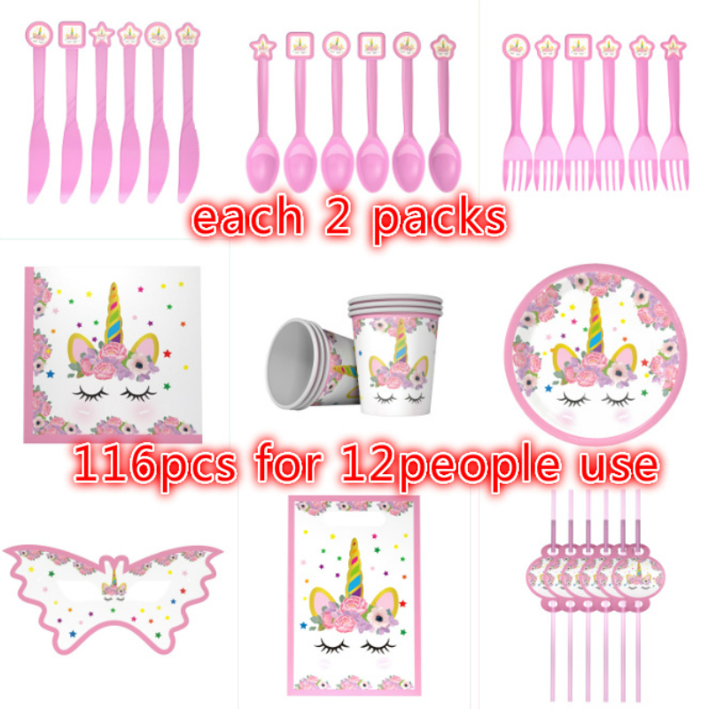 116pcs Lovely Unicorn theme birthday party plates banner hat kids favors cup dishes