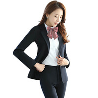 Brand Design Professional Women Suits Office Business Ol Blue Formal Ladies Pant Suits Two Piece Black