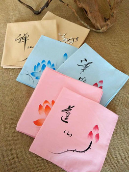 Hand Painting Vintage Chinese Pure Cotton Handkerchief Women Gift Fashion Accessories Small Linen Hand Kerchief  30x30cm