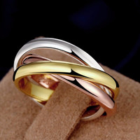 High Quality 3 Mix Colors Wedding Love Rings For Women Titanium Stell Finger Ring Anillo Fine