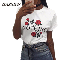 QAZXSW Nothing Letter Print T Shirt Rose Harajuku T Shirt Women Summer Casual Short Sleeve T