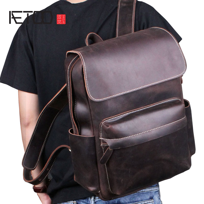 AETOO Crazy horse skin shoulder bag male leather retro leisure first layer cowhide bag travel bag backpack computer bag tide aetoo new front cowhide retro leather shoulder bag men travel backpack europe and the united states crazy horse leather