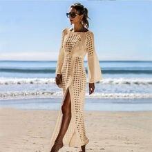 Сексуальное вязаное пляжное платье с вырезами накидка длинным