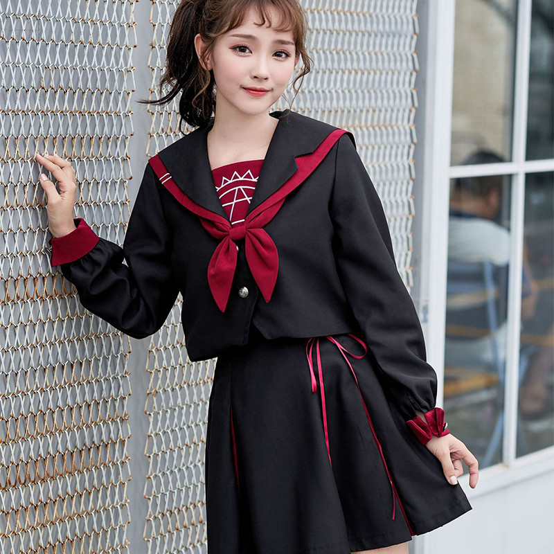 UPHYD Japanese Uniform For Teen Girls Top+Skirt+Tie Magic Tattoos Embroidery Sailor Suits Anime School Uniforms S-XXL