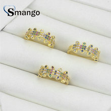 5Pieces,Women Fashion Jewelry,The Rainbow Series Double Row Rings,Gold Colors,Can Wholesale