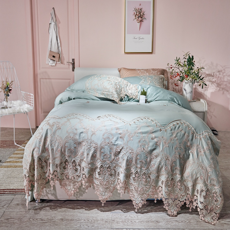 Lace Egyptian cotton Queen King size Bedding Set Blue Pink Gold Bed set Fitted Bed sheet