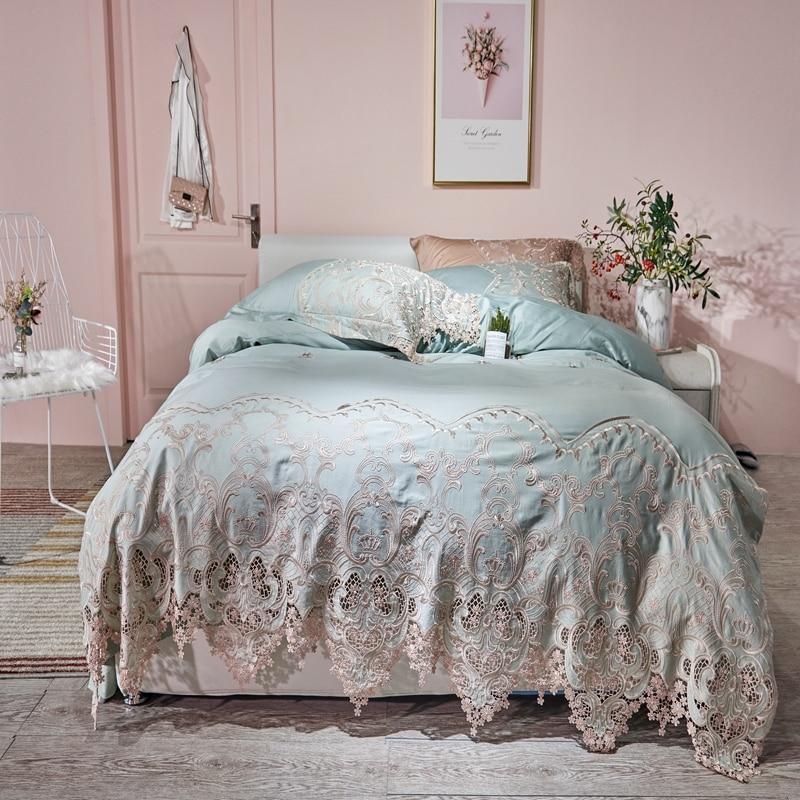 Lace Egyptian Cotton Queen King Size Bedding Set Blue Pink Gold Bed Set Fitted Bed Sheet Duvet Cover Ropa De Cama Parrure De Lit