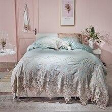Ropa de cama tamaño king de algodón egipcio de encaje conjunto de cama azul rosa dorado sábana ajustable para cama funda nórdica ropa de cama