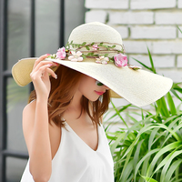New Flower Straw Sun Hat Girls Fashion Wide Brim Summer Sun Cap Lady Travelling Headwear Beach Cap Chapeau Panama Sun Hat B 7974