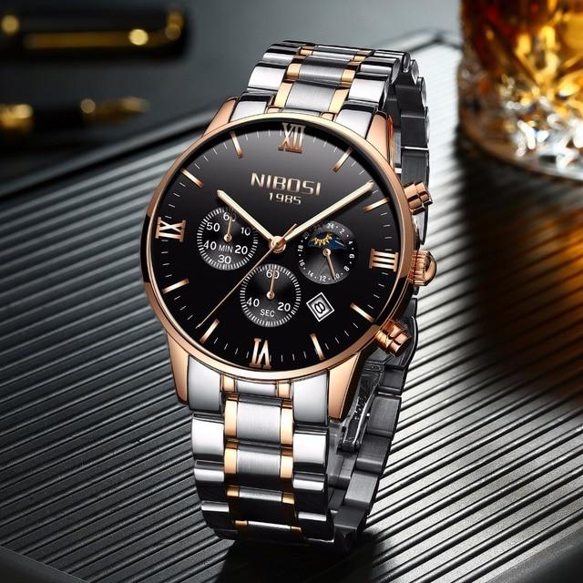 Rose Gold/Silver  Men's  Luxury New Military Quartz Wristwatch  3