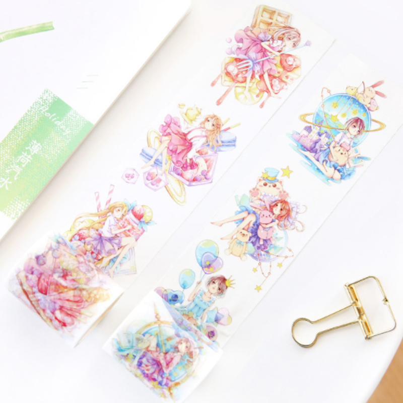1 Pcs/set Beautiful 5cm*6m Butterfly animation cute gril washi tape DIY decorative scrapbook planner masking tape adhesive tape