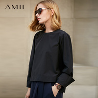Amii Minimalist Women 2019 Spring Office Lady Blouse Solid Pullover O Neck Female Blouses Shirts