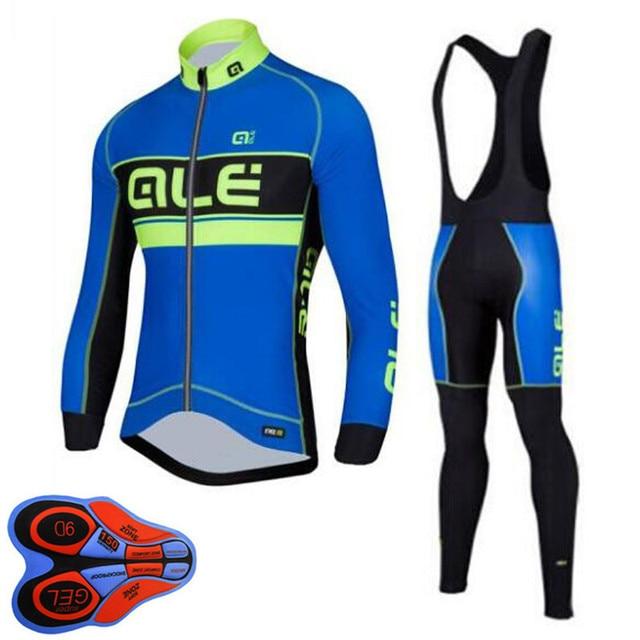 2018 ALE Pro Team Cycling Jerseys Set Men Long Sleeve Bib Shorts GEL  Breathable Clothing MTB Ropa Ciclismo Bicycle Clothes Set 7b1ebb333