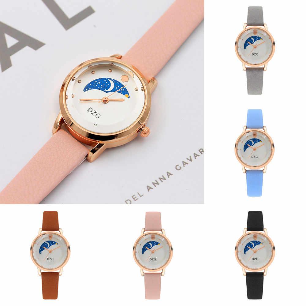 Reloj de pulsera de cuarzo con correa de Color Digital y esfera de cuero, reloj de pared con diseño moderno y adhesivo montre femme 50