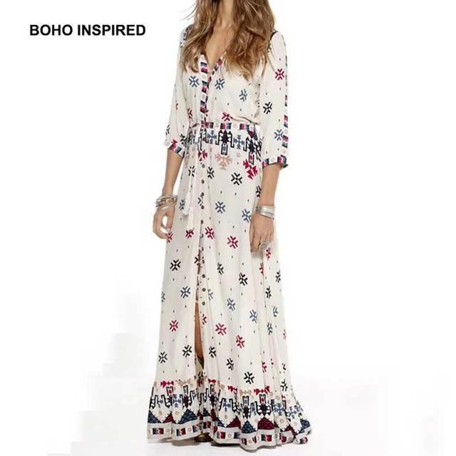 e635496949f7 Boho Inspired 2017 maxi dress Women Gypsy Style Print Kimono beach Dress  half sleeve v-neck long drawstring waist summer dress