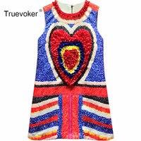 Truevoker Summer Designer Dress Women S High Quality Colour Block Heart Appliques Diamond Casual Tank Dress