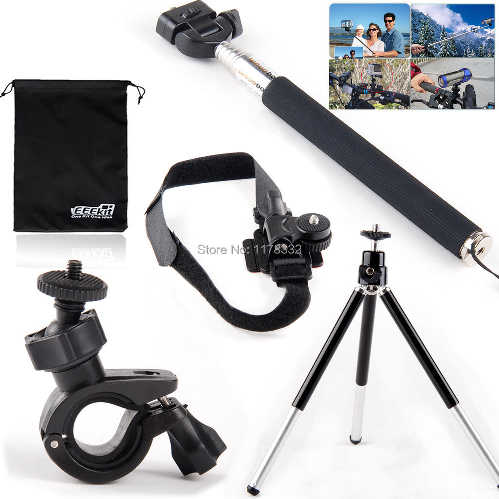 5ni1 1set Action Sports Camera Monopod+Helmet/Tripod/Handlebar Mount Holder for Sony Action Cam HDR AZ1 AS20 AS100V AS30V AS15