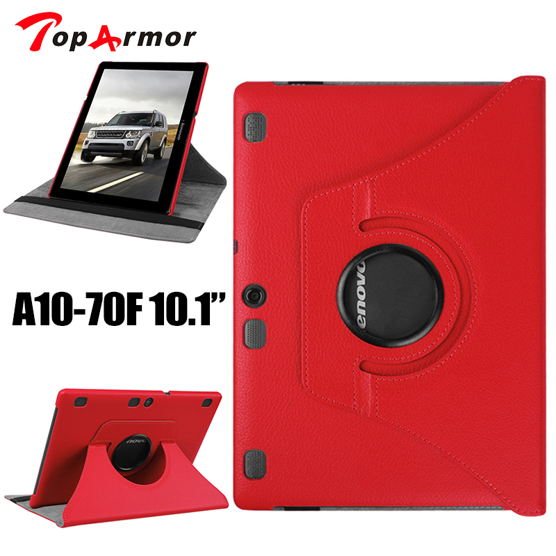 TopArmor Brand Stand Leather Case For Lenovo Tab 2 A10 70 10.1 case 360 Rotating for Lenovo A10-70 A10-70L A10-70F Cover new for lenovo tab 2 a10 70 a10 70f l a10 70 smart flip leather case cover for lenovo tab 2 a10 70l tablet 10 1 tablet case