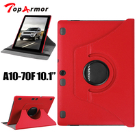TopArmor Brand Stand Leather Case For Lenovo Tab 2 A10 70 10 1 Case 360 Rotating