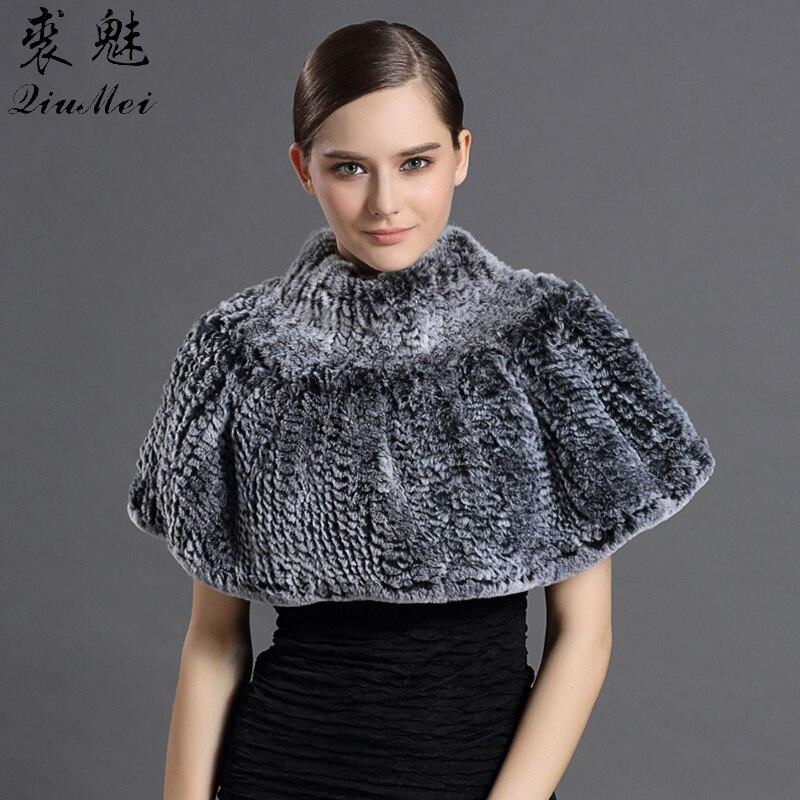 Gennuine Fur Scarves & Shawl ponchos Trendy Shawl For Women's Rex Rabbit Fur Cachecol New 2018 Warm Fashion Luxury Female Shawl