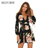 BEFORW Fall 2017 Fashio Retro Dress Sexy V Neck Long Sleeved Party Dresses Floral Printing Dresses