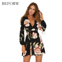 BEFORW Fall 2017 Fashio Retro Dress Sexy V Neck Long Sleeved Party Dresses Floral Printing Dresses