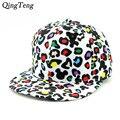 Engraçado mickey desenho animado cap snapback chapéu do leopardo branco cor barato rockstar cap bonito chapéu snapback para meninas das mulheres chapéus tirar Backs