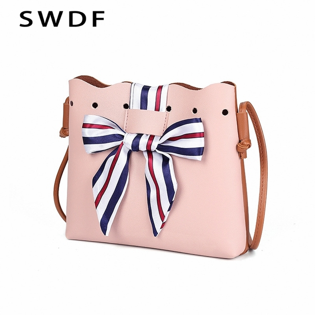 27710f53c1ab SWDF Women Ribbon Bow Crossbody Bag Cute Color Stitching Bag Flap Shell  Shoulder Clucthes Hand Bag