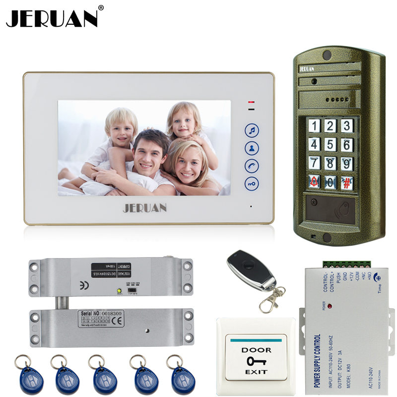 JERUAN 7`` touch key Video Door Phone Intercom System kit 1 Monitor+ Metal waterproof password keypad HD Mini Camera +E-lock jeruan wired 7 touch key video doorphone intercom system kit waterproof touch key password keypad camera 180kg magnetic lock