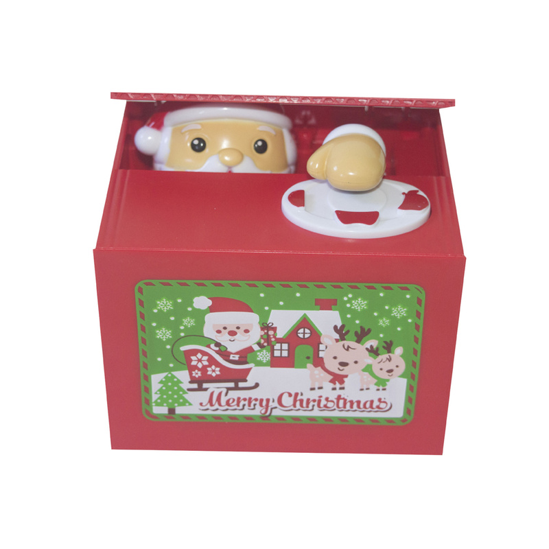 Gifts Children Save Money Stealing Coins Electronic Plastic Safebox Cute Personality Funny Prank Save Santa Music Christmas Box
