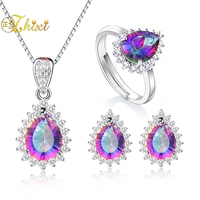ZHIXI 925 Sterling Silver Jewelry Topaz Necklace Pendant Rings Earrings Rainbow Multi colour Wedding Jewelry Set For Women T239