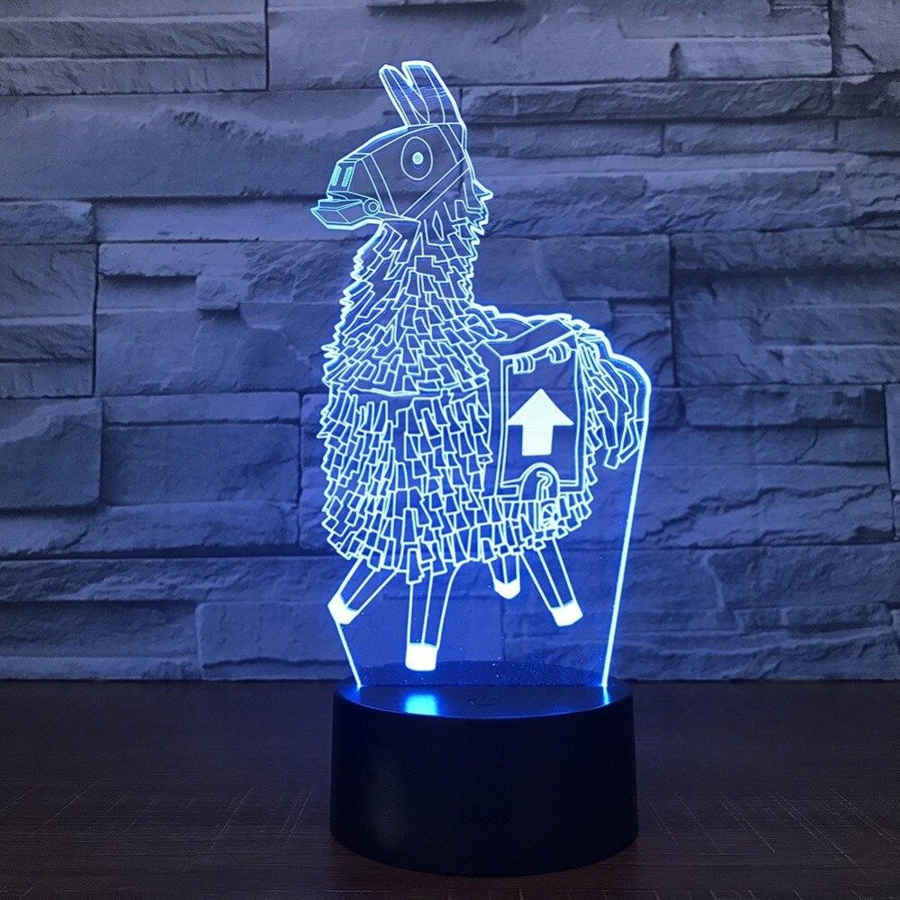 3D Night Light Home Atmosphere Decor Game Series Alpaca Llama Night Light 7Color Table Lamp Child Birthday Holiday Gift