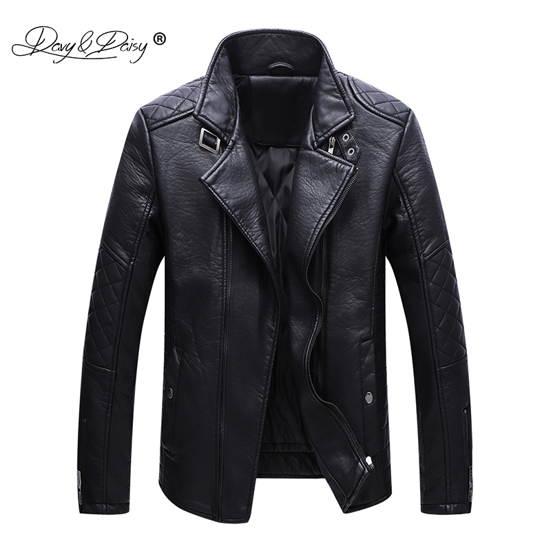 DAVYDAISY New Arrival 2018 Autumn Winter Fashion PU Leather Men Jacket Gentleman Elegant Coat Men Coat Black JK068-in Jackets from Men's Clothing    1