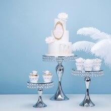 Новое поступление серебряный кристалл торт стенд набор зеркало лицо Фондант Кекс сладкий стол моноблок украшения стола Для свадебной вечеринки