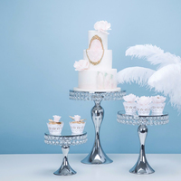 New arrive Silver crystal cake stand set mirror face fondant cupcake sweet table candy bar table decorating for wedding party