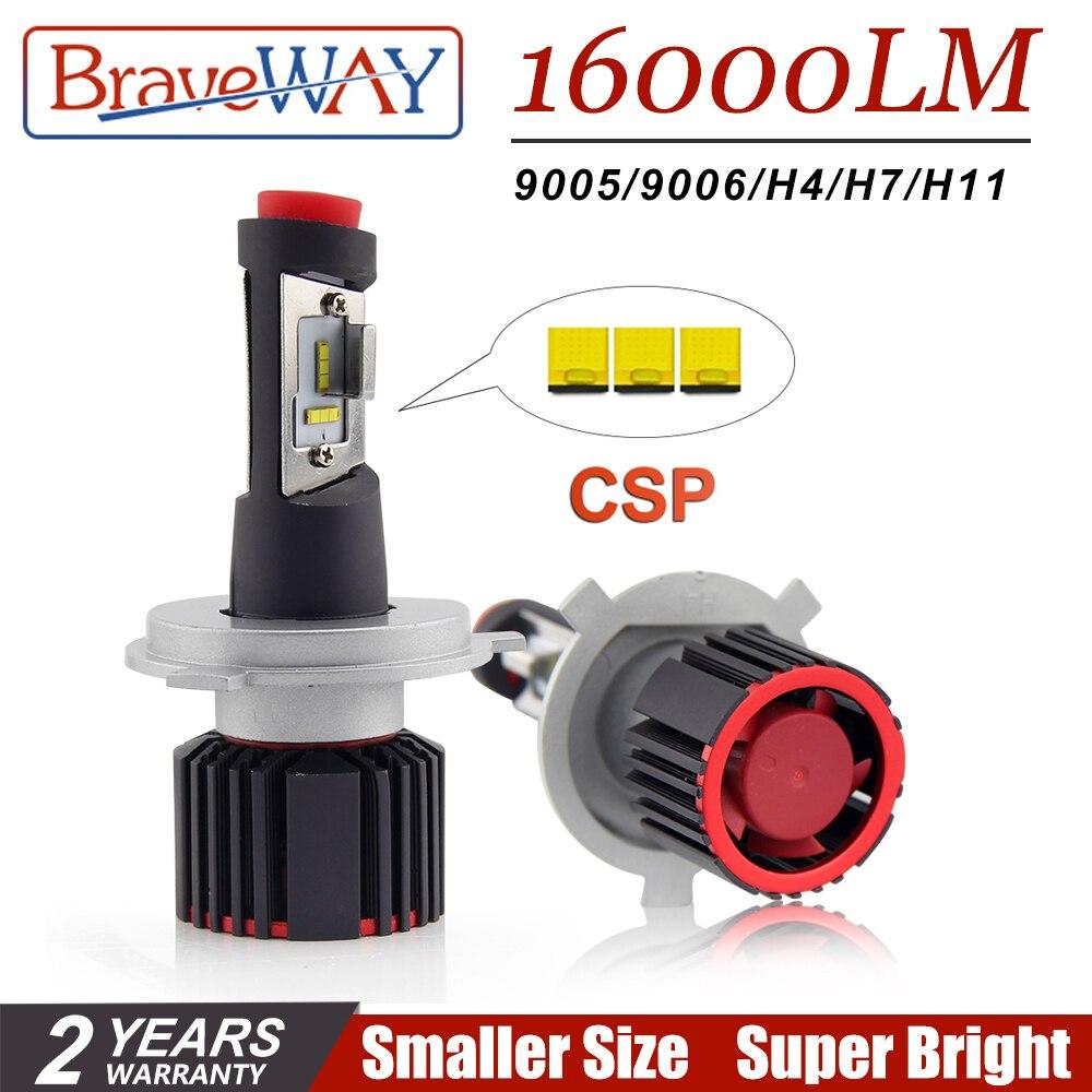 BraveWay Super LED CSP Puce Led Ampoule H4 H7 H11 9005/HB3 9006/HB4 H8 LED Lumières pour auto Voiture Lampe pour Phare De Voiture Ampoules 16000LM