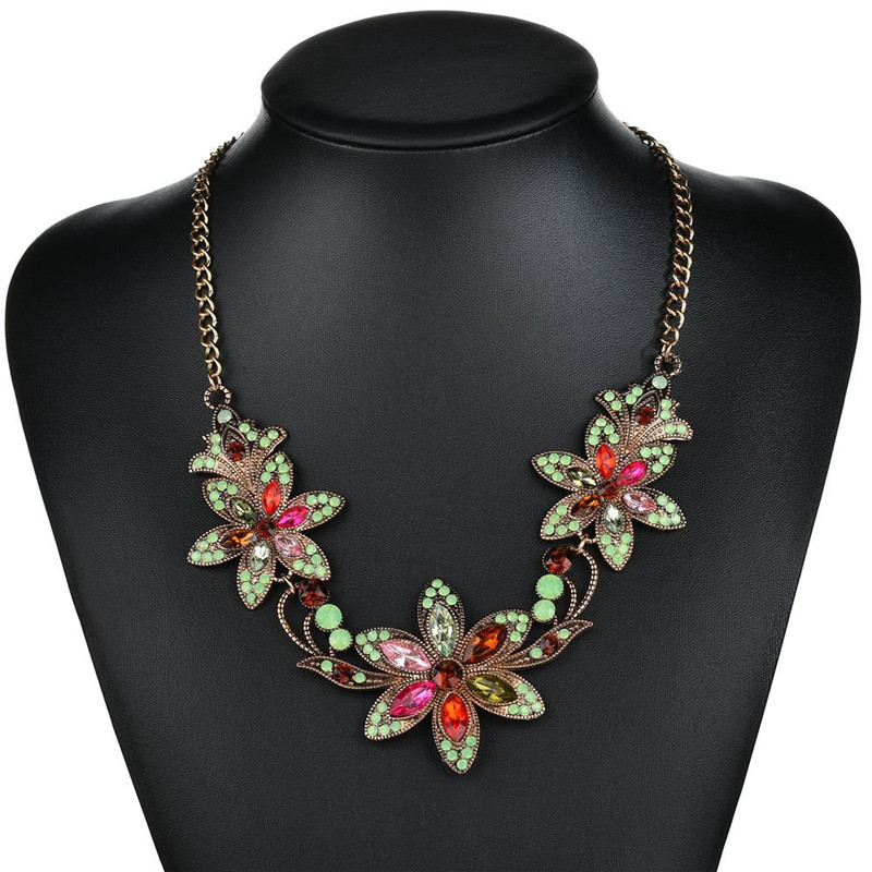 Bohemian Vintage Flower Pendant Fashion Personality Occident Style Female Necklace NL082