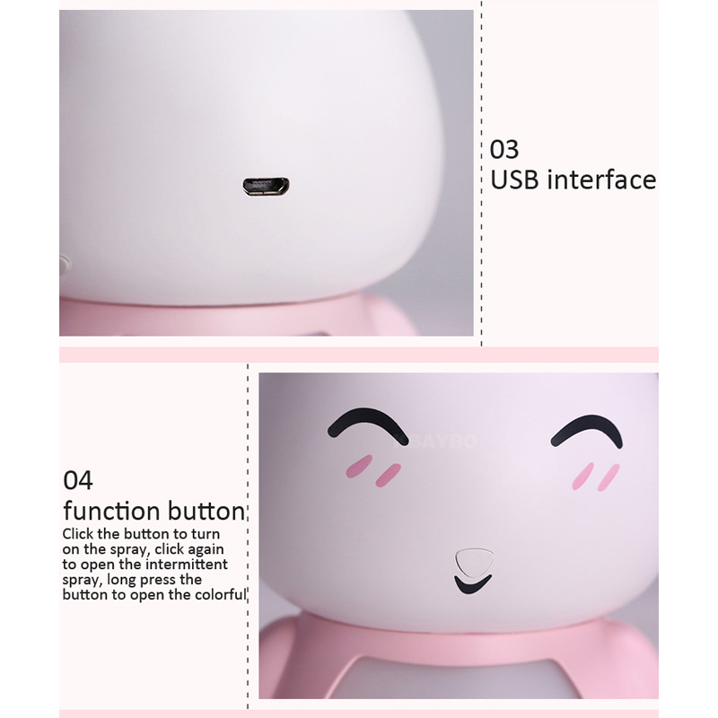 200ML USB Aroma Essential Oil Diffuser Ultrasonic Cool Mist Rabbit Humidifier Air Purifier LED Night light for Office Home Gift